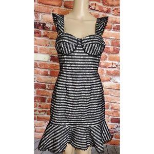 NWT Allen Schwartz Black White Bustier Dress Small